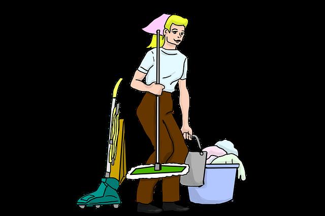Schoonmaak van het sanitair op een camping - dweil