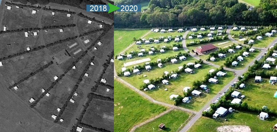 Voor en na - volle camping
